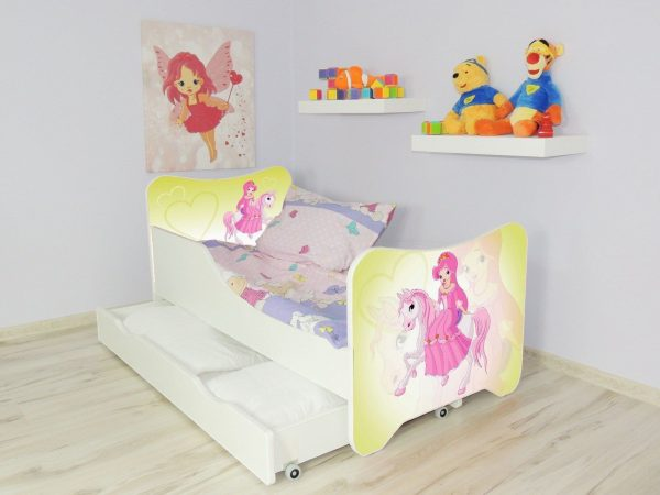 Children Bed PONY Single Bed For Girls Kids with mattress 140x70, drawer +pillow