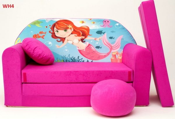 Childrens sofa bed type W, Fold Out Sofa Foam Bed for children + free pillow and pouffe - WH4 - Mermaid