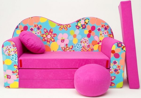 Childrens sofa bed type W, Fold Out Sofa Foam Bed for children + free pillow and pouffe - WH13 - Flowers