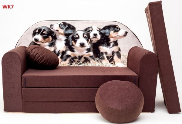 Childrens sofa bed type W, Fold Out Sofa Foam Bed for children + free pillow and pouffe - WK7 - Dogs