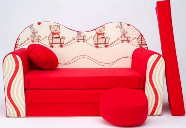 Childrens sofa bed type W, Fold Out Sofa Foam Bed for children + free pillow and pouffe - WD26 - Animals