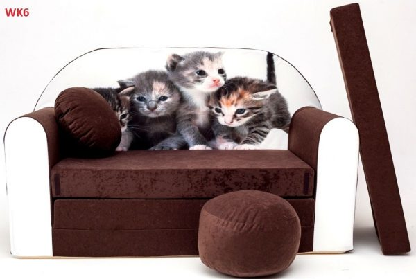 Childrens sofa bed type W, Fold Out Sofa Foam Bed for children + free pillow and pouffe - WK6 - Cats