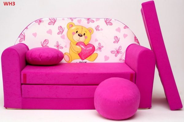 Childrens sofa bed type W, Fold Out Sofa Foam Bed for children + free pillow and pouffe - WH3 - Teddy Bear