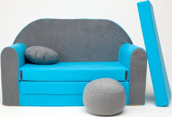 Childrens sofa bed type W, Fold Out Sofa Foam Bed for children + free pillow and pouffe - WB1