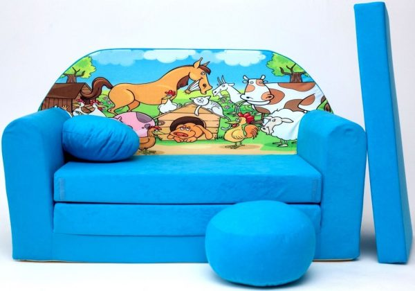 Childrens sofa bed type W, Fold Out Sofa Foam Bed for children + free pillow and pouffe - WB5 - Animals
