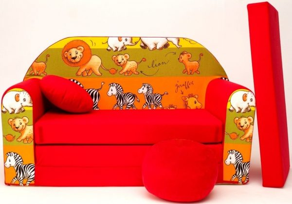 Childrens sofa bed type W, Fold Out Sofa Foam Bed for children + free pillow and pouffe - WD2L - Animals