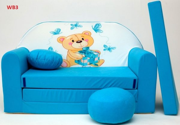 Childrens sofa bed type W, Fold Out Sofa Foam Bed for children + free pillow and pouffe - WB3 - Teddy Bear