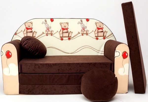 Childrens sofa bed type W, Fold Out Sofa Foam Bed for children + free pillow and pouffe - WK27