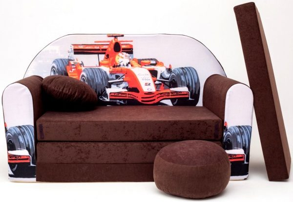 Childrens sofa bed type W, Fold Out Sofa Foam Bed for children + free pillow and pouffe - WK22 - Racing Car Bed