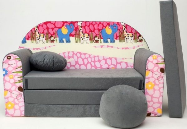 Childrens sofa bed type W, Fold Out Sofa Foam Bed for children + free pillow and pouffe - WA16 - Animals