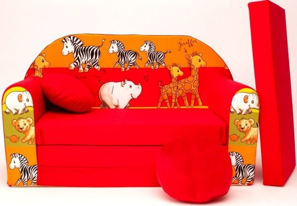 Childrens sofa bed type W, Fold Out Sofa Foam Bed for children + free pillow and pouffe - WD2Z - Animals