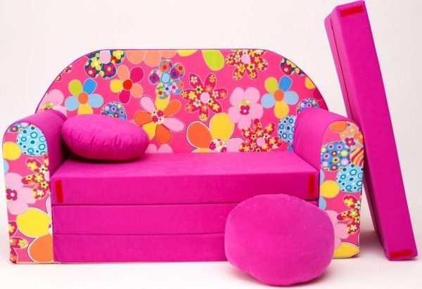 Childrens sofa bed type W, Fold Out Sofa Foam Bed for children + free pillow and pouffe - WH12+ - Flowers