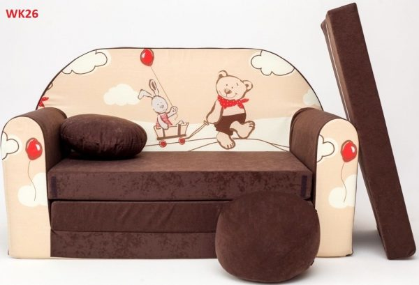 Childrens sofa bed type W, Fold Out Sofa Foam Bed for children + free pillow and pouffe - WK26 - Animals
