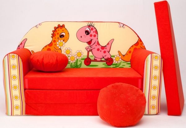 Childrens sofa bed type W, Fold Out Sofa Foam Bed for children + free pillow and pouffe - WF15+ dinosaurs