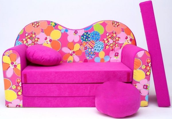 Childrens sofa bed type W, Fold Out Sofa Foam Bed for children + free pillow and pouffe - WH12 Flowers