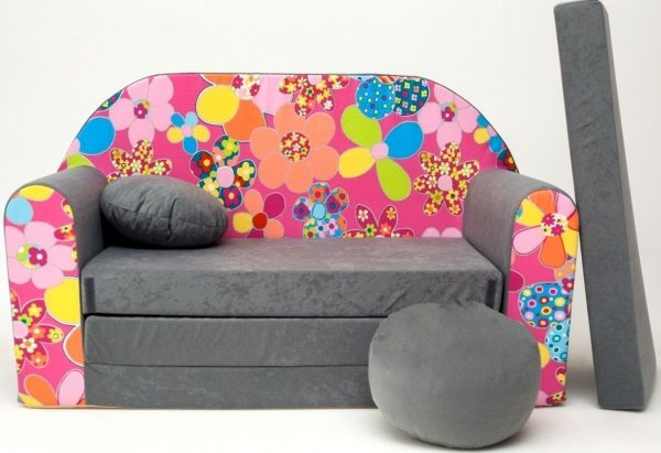 Childrens sofa bed type W, Fold Out Sofa Foam Bed for children + free pillow and pouffe - WA12+ Flowers