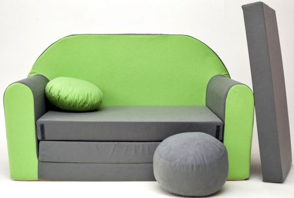 Childrens sofa bed type W, Fold Out Sofa Foam Bed for children + free pillow and pouffe - WA1