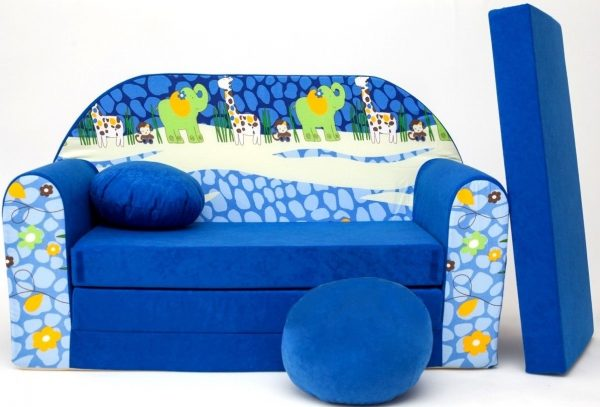 Childrens sofa bed type W, Fold Out Sofa Foam Bed for children + free pillow and pouffe - WC16+ - Animals