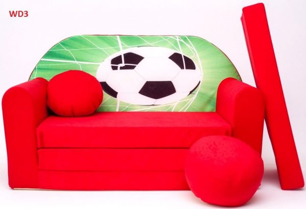 Childrens sofa bed type W, Fold Out Sofa Foam Bed for children + free pillow and pouffe - WD3 Soccer