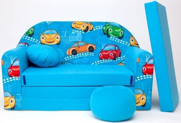 Childrens sofa bed type W, Fold Out Sofa Foam Bed for children + free pillow and pouffe - WB11+ - Cars