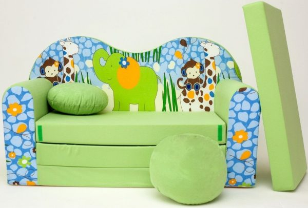 Childrens sofa bed type W, Fold Out Sofa Foam Bed for children + free pillow and pouffe - WZ16 - Animals