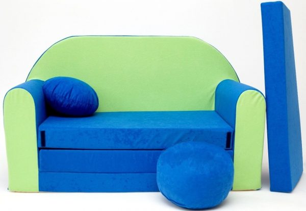 Childrens sofa bed type W, Fold Out Sofa Foam Bed for children + free pillow and pouffe - WN