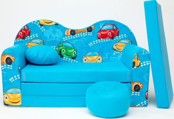 Childrens sofa bed type W, Fold Out Sofa Foam Bed for children + free pillow and pouffe - WB11 - Cars