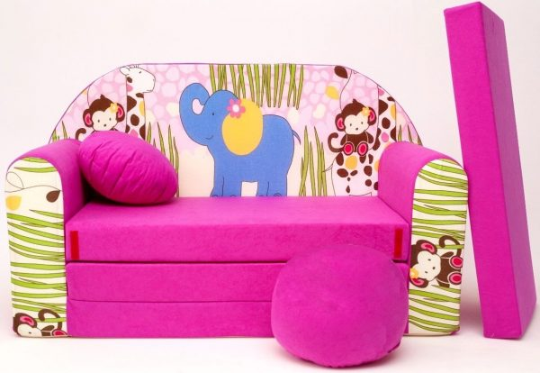 Childrens sofa bed type W, Fold Out Sofa Foam Bed for children + free pillow and pouffe - WH16+ Animals