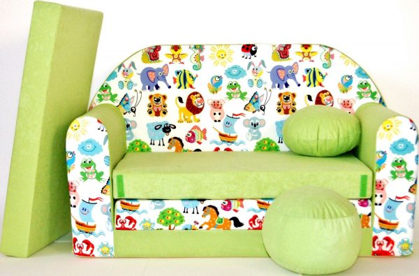 Childrens sofa bed type W, Fold Out Sofa Foam Bed for children + free pillow and pouffe - WZ5 - Animals