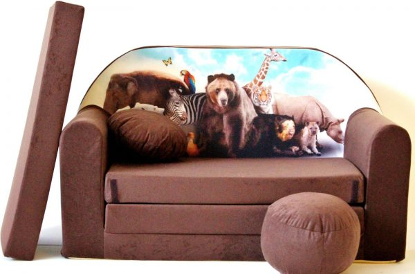 Childrens sofa bed type W, Fold Out Sofa Foam Bed for children + free pillow and pouffe - WK8 - Animals
