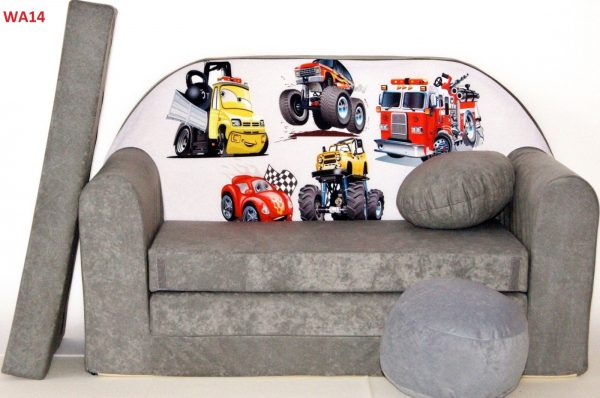 Childrens sofa bed type W, Fold Out Sofa Foam Bed for children + free pillow and pouffe - WA14 - vehicles