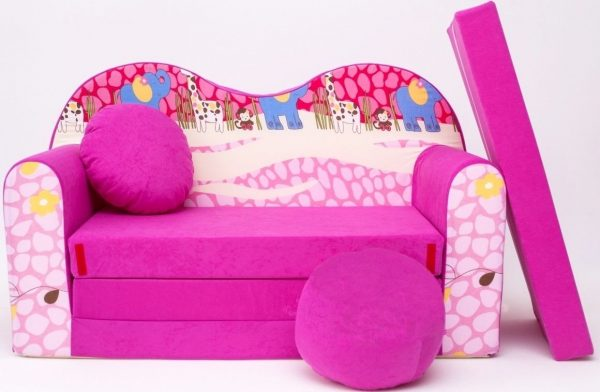 Childrens sofa bed type W, Fold Out Sofa Foam Bed for children + free pillow and pouffe - WH16 animals