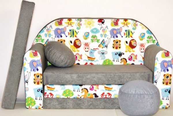 Childrens sofa bed type W, Fold Out Sofa Foam Bed for children + free pillow and pouffe - WA5 - Animals