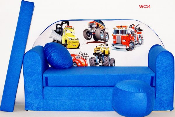 Childrens sofa bed type W, Fold Out Sofa Foam Bed for children + free pillow and pouffe - WC14 - Vehicles