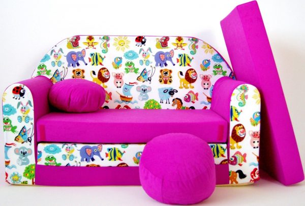 Childrens sofa bed type W, Fold Out Sofa Foam Bed for children + free pillow and pouffe - WH5 - Vehicles