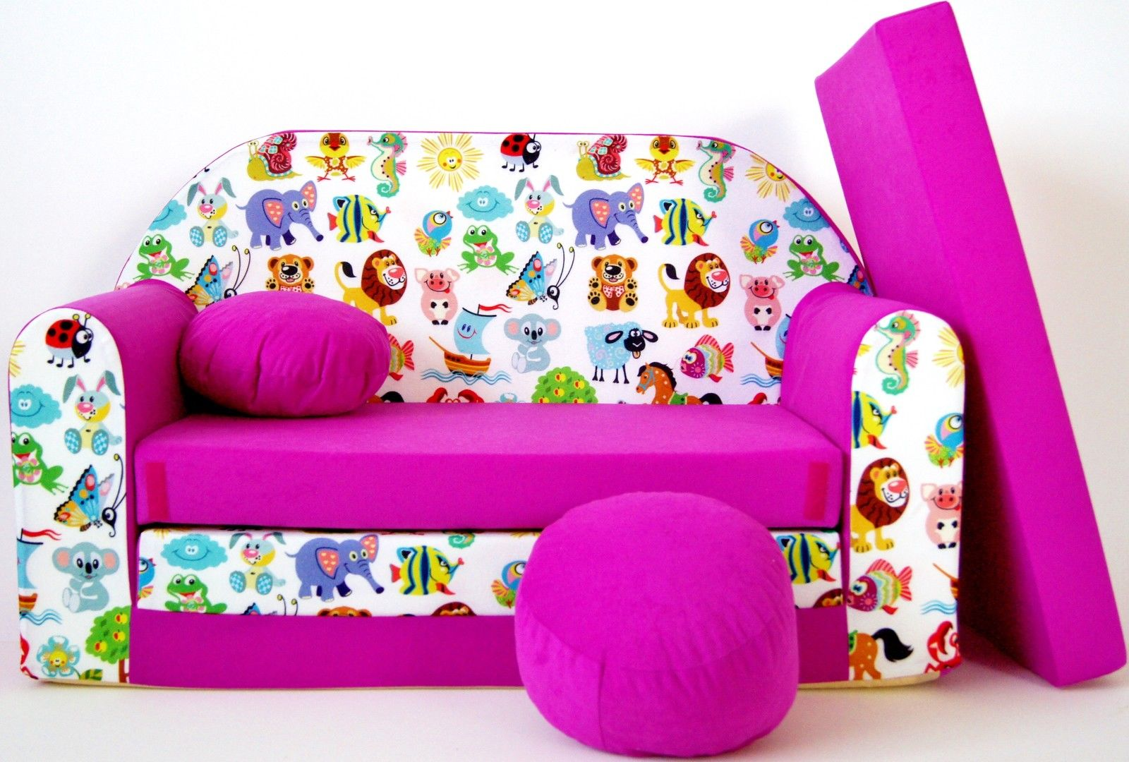 Childrens Sofa Bed Type W, Fold Out Sofa Foam Bed For Children + Free Pillow