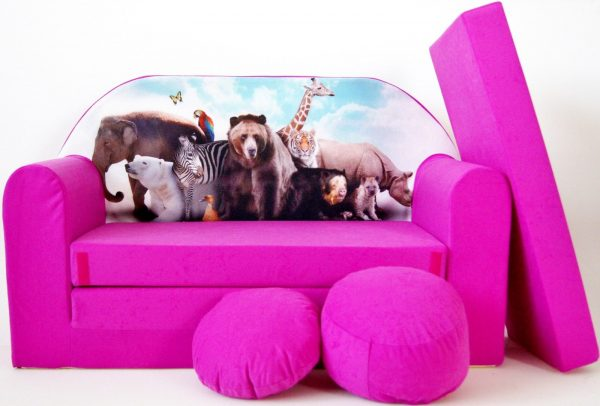 Childrens sofa bed type W, Fold Out Sofa Foam Bed for children + free pillow and pouffe - WH8 - Animals