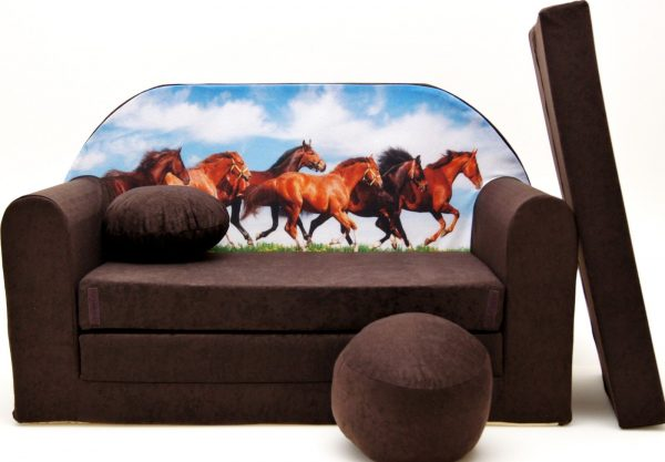 Childrens sofa bed type W, Fold Out Sofa Foam Bed for children + free pillow and pouffe - WK29 - Horses
