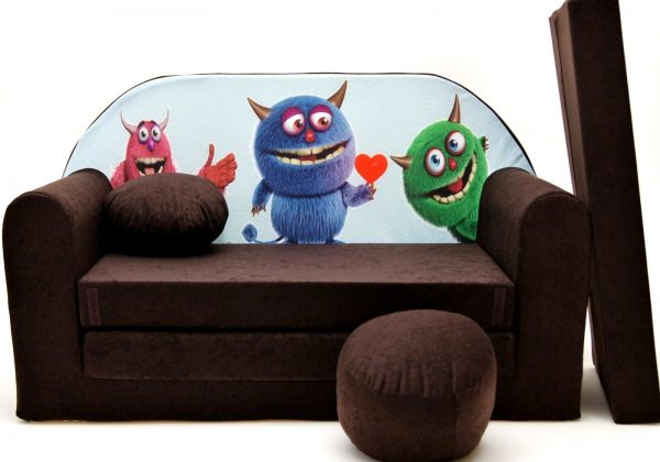 Childrens sofa bed type W, Fold Out Sofa Foam Bed for children + free pillow and pouffe - WK28 - Monsters
