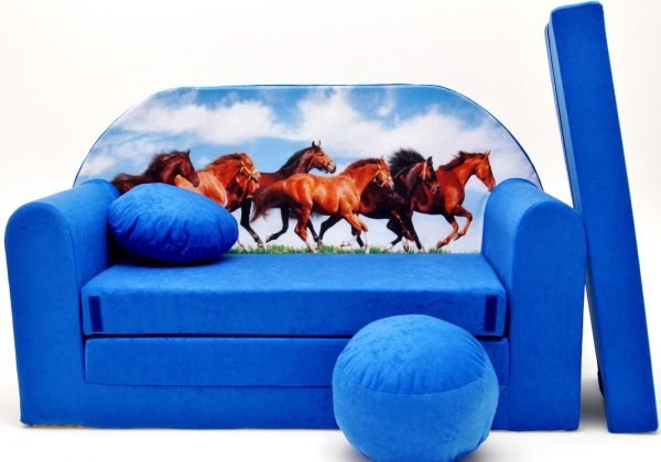 Childrens sofa bed type W, Fold Out Sofa Foam Bed for children + free pillow and pouffe - WC29 - Horses