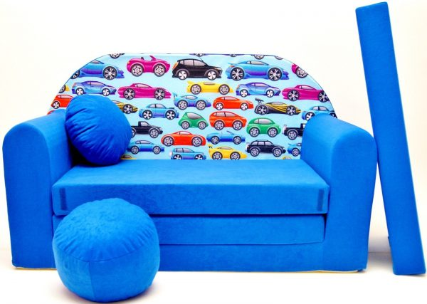 Childrens sofa bed type W, Fold Out Sofa Foam Bed for children + free pillow and pouffe - WC21 - Cars