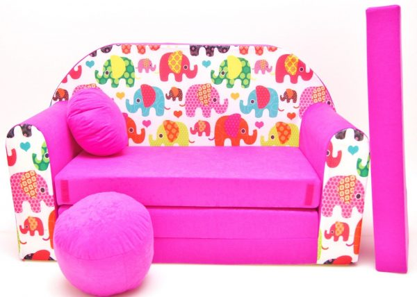 Childrens sofa bed type W, Fold Out Sofa Foam Bed for children + free pillow and pouffe - WH9 - Elephants