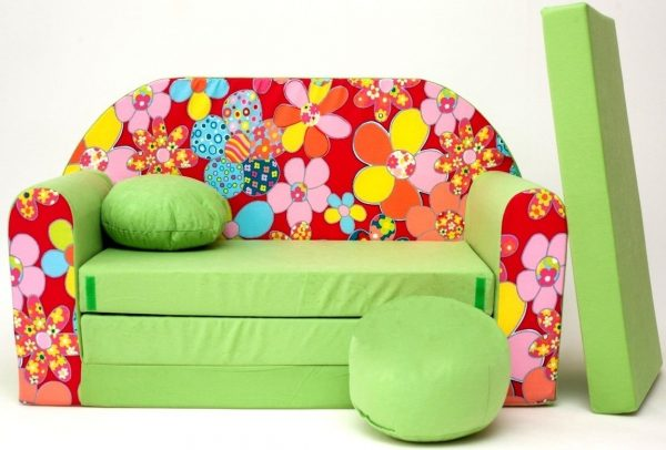 Childrens sofa bed type W, Fold Out Sofa Foam Bed for children + free pillow and pouffe - WZ19 Flowers