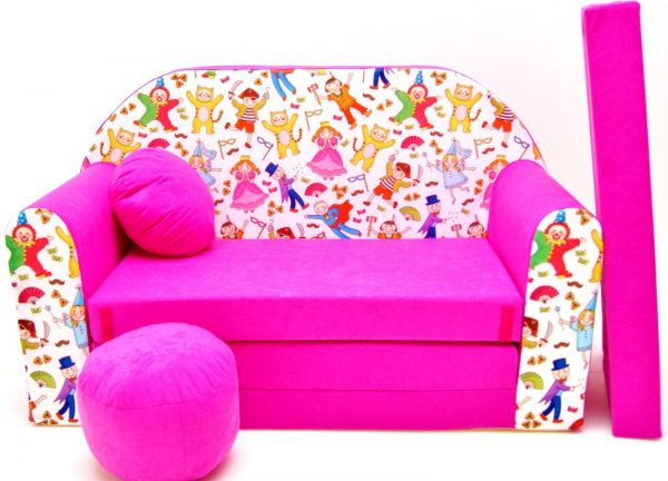 Childrens sofa bed type W, Fold Out Sofa Foam Bed for children + free pillow and pouffe - WH31 - People in mask