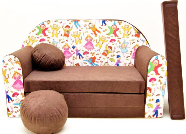 Childrens sofa bed type W, Fold Out Sofa Foam Bed for children + free pillow and pouffe - WK31 - People in mask