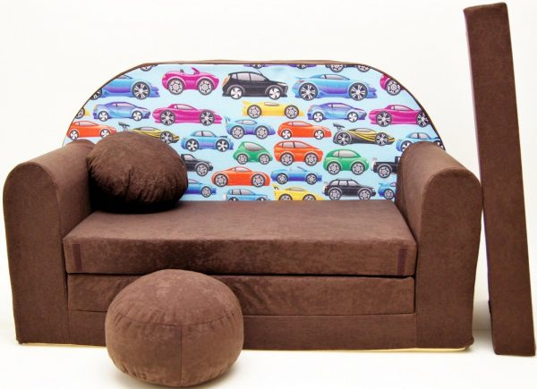 Childrens sofa bed type W, Fold Out Sofa Foam Bed for children + free pillow and pouffe - WK21 - Cars