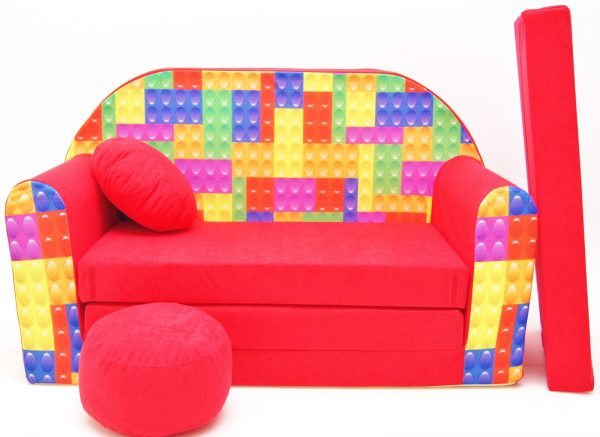 Childrens sofa bed type W, Fold Out Sofa Foam Bed for children + free pillow and pouffe - WD32