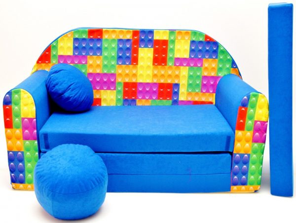 Childrens sofa bed type W, Fold Out Sofa Foam Bed for children + free pillow and pouffe - WC32