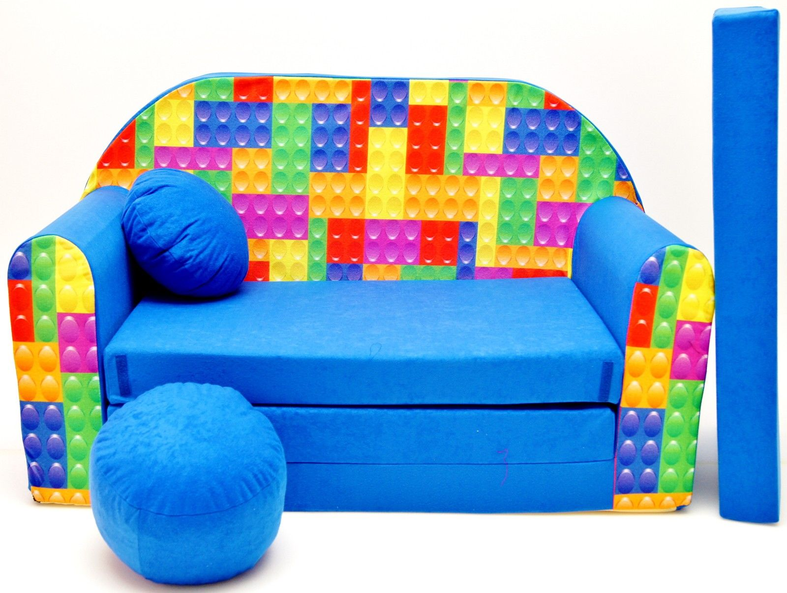 huge selection of 3da5d 20d74 Childrens sofa bed type W, Fold Out Sofa Foam Bed for children + free  pillow and pouffe - WC32