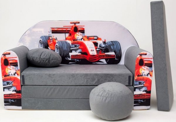 Childrens sofa bed type W, Fold Out Sofa Foam Bed for children + free pillow and pouffe - WA22 - Racing Car
